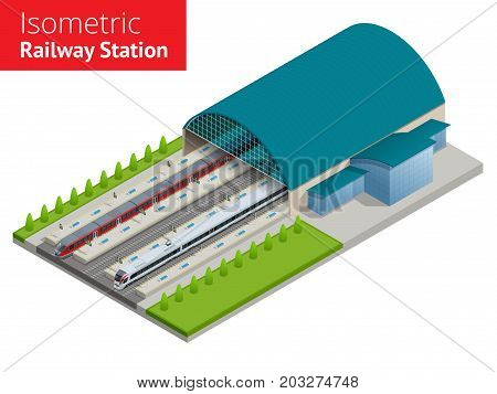 Vector isometric infographic element Railway Station Building Terminal. City Train Building Facade Train Station public train station building with passenger trains, platform, related infrastructure