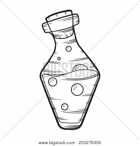 halloween poison bottle with bubbles isolated on white background