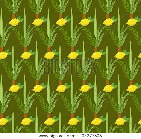 Happy Sukkot seamless pattern. Jewish holiday huts endless background. Repeating texture with etrog, lulav, Arava, Hadas. Vector illustration