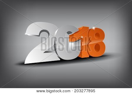 Happy new year 2018 in 3D with orange 18 and grey 20. (EPS10 Vector)