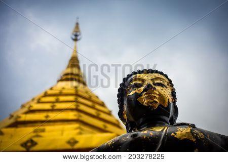 Black And Gold Statue Of Buddha In Doi Suthep