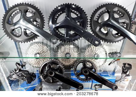 Bicycle crank and rear cassette for mountain bike and road bike cycling / Cycling accessories concept