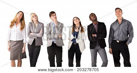 Group Of Multi Ethnic Business People Day Dreaming Against White Background