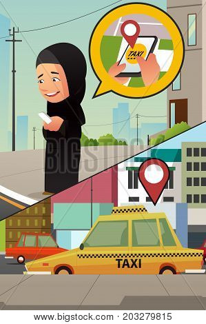 A vector illustration of a Muslim Woman Calling Taxi from Her Cellphone