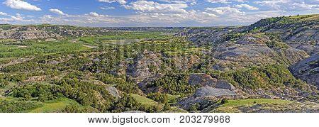 LIttle Missouri River Panorama in Theodore Roosevelt National Park in North Dakota