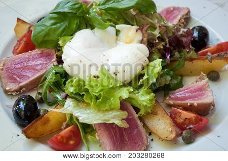 Fillet of duck with basil , vegetables and eggs of Benedict .