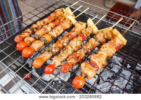 BBQ on grille   Thailand street food