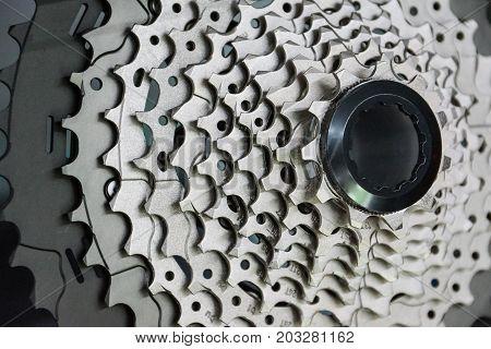 Closeup of mountain bike 11 speed cassette