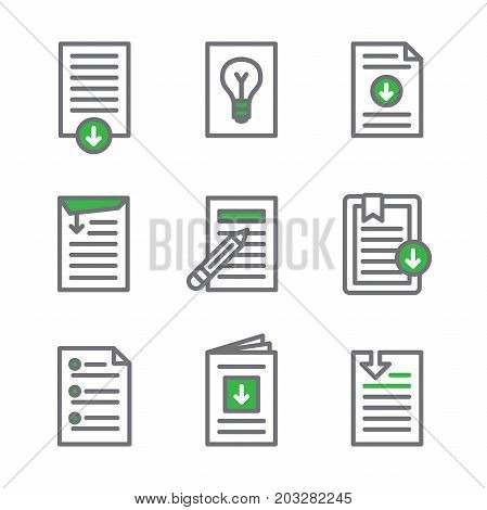 Whitepaper - Download Icon Button Set with Green