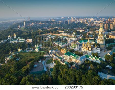 Aerial view of Kiev Pechersk Lavra at sunrise. Kiev, Ukraine