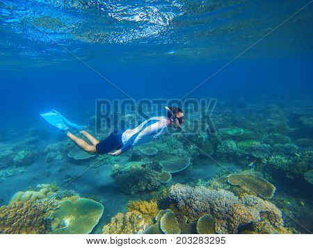 Young snorkel swims underwater. Male snorkel in tropical lagoon undersea photo. Freediving in coral reef. Active summer holiday. Water sport in open sea. Exploring tropical coral reef. Swimming man
