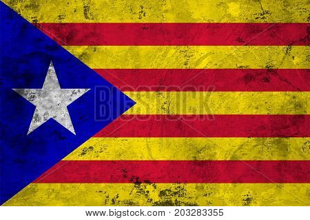 Flag of the Catalonia against the background of the stone texture