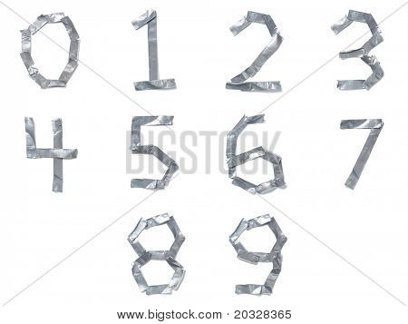 Numbers made out of tape