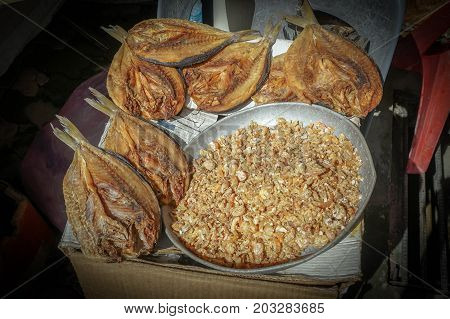 Dried salted fish & dried salted small shrimp,traditional Malaysia ingredient in food.The hot weather is perfect for drying salted fish and it also results in better tasting fish.