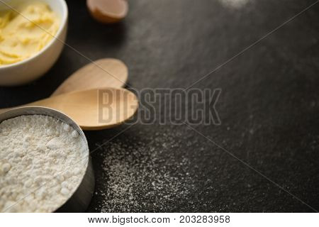 Close up of flour in bowl on table