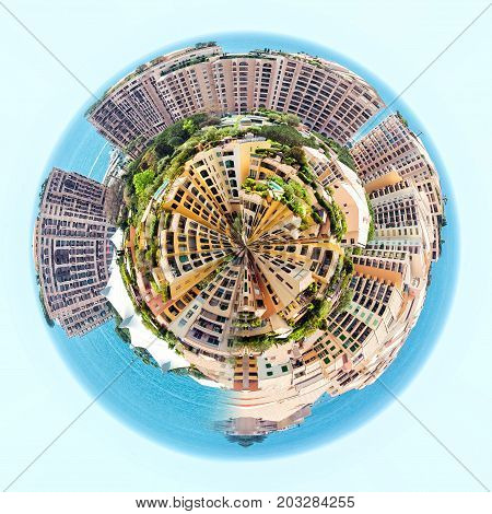 Little planet 360 degree sphere. Panorama of Fontvieille. Principality of Monaco
