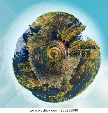 Little planet 360 degree sphere. Panorama of Lourmarin park. Provence-Alpes-Cote d'Azur. France