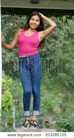 Stylish Teenager Female and Wearing Blue Jeans