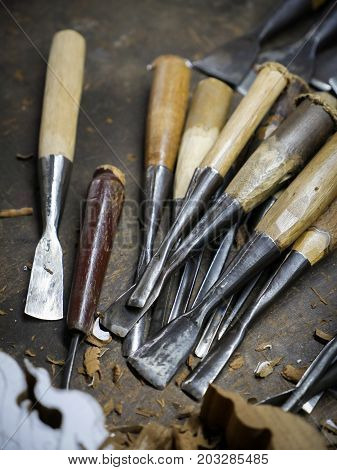 set of wood carving tools Carpenter wood chisel tool.
