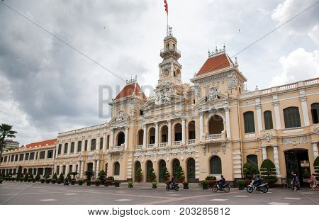 HO CHI MINH CITY (SAIGON), VIETNAM - JULY 2017 : The Ho Chi Minh City Hall, or Ho Chi Minh City People's Committee, built in 1902-1908 in a French colonial style for the then city of Saigon, Vietnam.