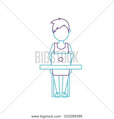 silhouette profesional businesswoman with laptop and corporate job vector illustration