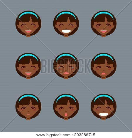 Set of emotional character. Cartoon style emotion icons. Isolated black girl avatars with different facial expressions. Flat illustration women's faces. Hand drawn vector drawing emoji.