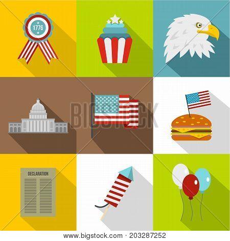 USA patriotic holiday icon set. Flat style set of 9 USA patriotic holiday vector icons for web design