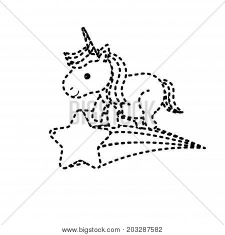 dotted shape nice unicorn with horn and shooting star vector illustration