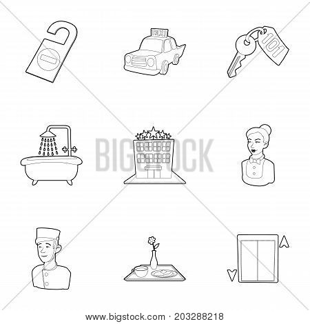 Hostel service icons set. Outline set of 9 hostel service vector icons for web isolated on white background