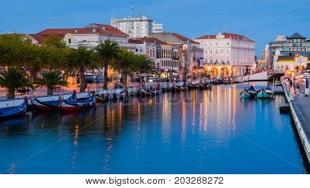 Aveiro Portugal - September 02 2017: End of the day in the central channel of the Ria de Aveiro Portugal