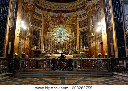 Rome Italy,November 4th 2013.The main altar area inside the church of Santa Maria della Vittoria in Rome Italy.
