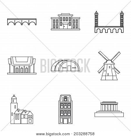 Skyscraper icons set. Outline set of 9 skyscraper vector icons for web isolated on white background