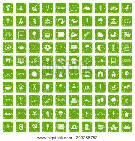 100 childrens playground icons set in grunge style green color isolated on white background vector illustration
