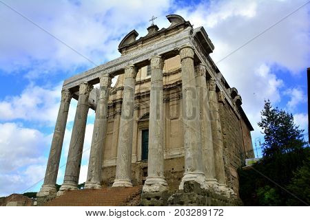 The temple of Antoninus and Faustina at the Forum in Rome Italy.