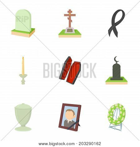Exequies icons set. Cartoon set of 9 exequies vector icons for web isolated on white background