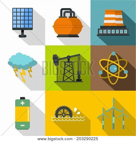 Power generation icon set. Flat style set of 9 power generation vector icons for web design