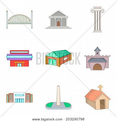 Chapel icons set. Cartoon set of 9 chapel vector icons for web isolated on white background