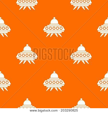 Alien spaceship pattern repeat seamless in orange color for any design. Vector geometric illustration