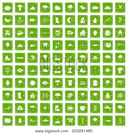 100 clouds icons set in grunge style green color isolated on white background vector illustration