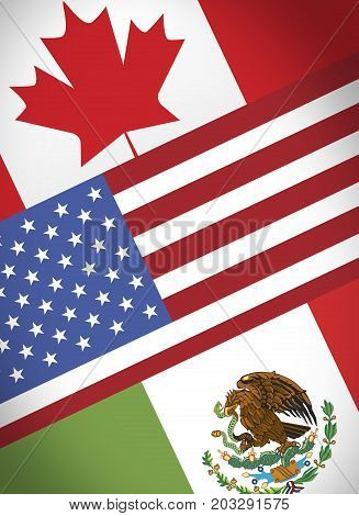 NAFTA economical trade agreement Canada USA and México flags