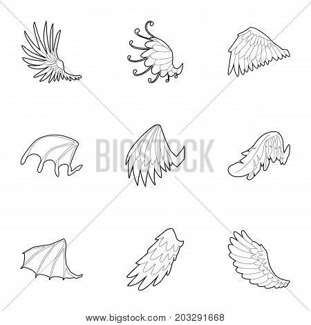 Wings of angel and devil icons set. Outline set of 9 wings of angel and devil vector icons for web isolated on white background