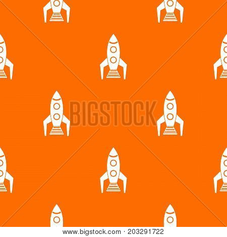 Space rocket pattern repeat seamless in orange color for any design. Vector geometric illustration