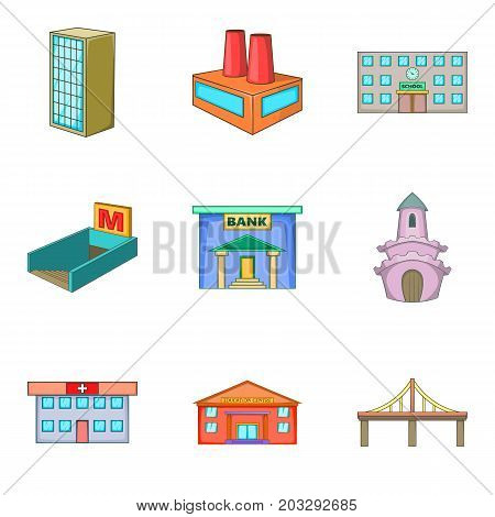 Organization icons set. Cartoon set of 9 organization vector icons for web isolated on white background