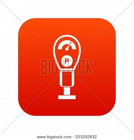 Parking meters icon digital red for any design isolated on white vector illustration