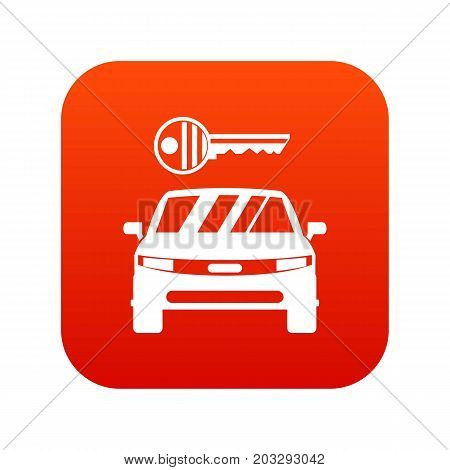 Car and key icon digital red for any design isolated on white vector illustration