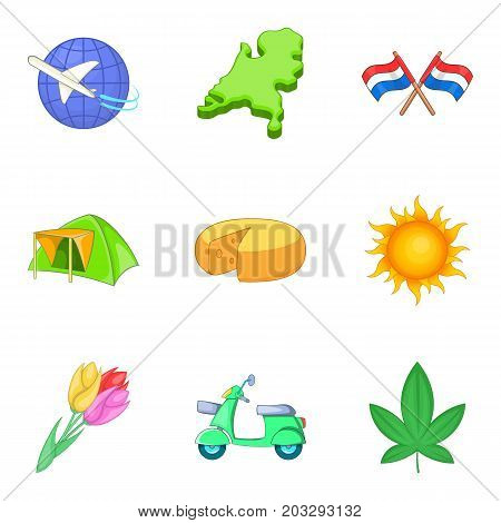 Migration icons set. Cartoon set of 9 migration vector icons for web isolated on white background