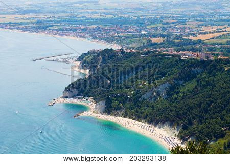 Aerial view Sirolo beach Conero Marche Italy. Due sorelle beach. Italian landmark