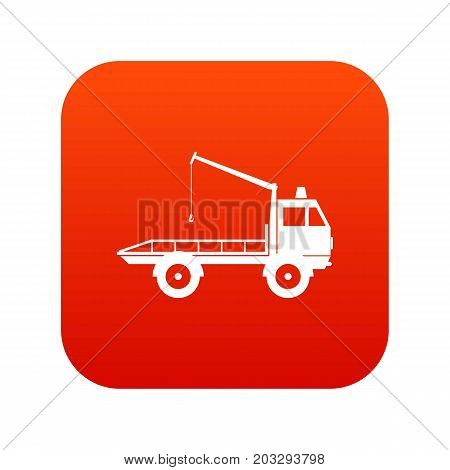 Car towing truck icon digital red for any design isolated on white vector illustration