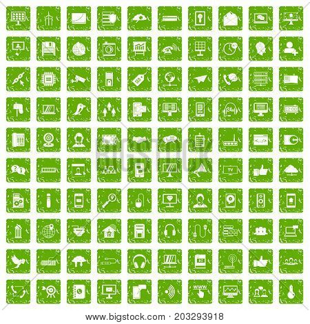 100 communication icons set in grunge style green color isolated on white background vector illustration