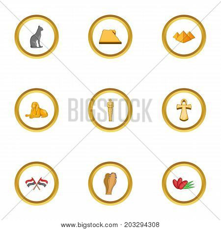 Cairo icons set. Cartoon set of 9 Cairo vector icons for web isolated on white background